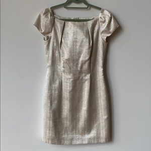 Silver & cream holiday cocktail dress